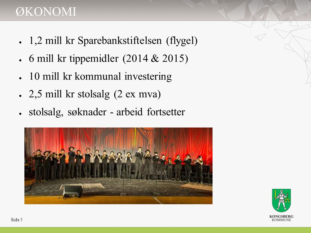 ØKONOMI ● 1,2 mill kr Sparebankstiftelsen (flygel) ● 6 mill kr tippemidler (2014 & 2015) ● 10 mill kr kommunal investering ● 2,5 mill kr stolsalg (2 e