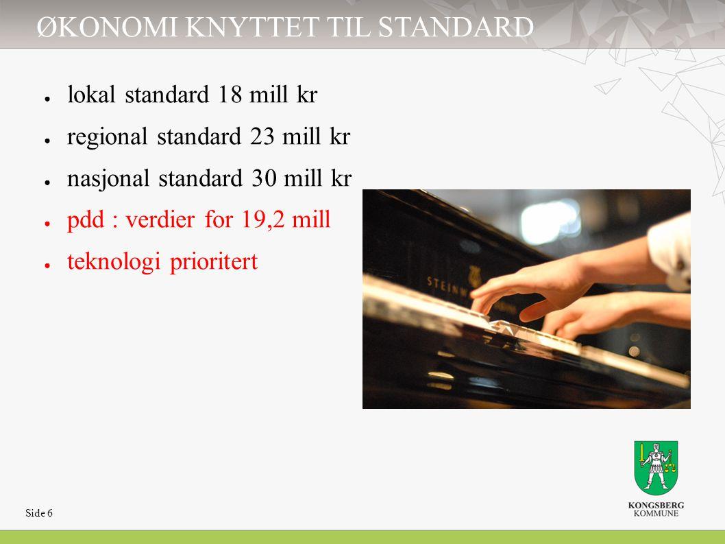 ØKONOMI KNYTTET TIL STANDARD ● lokal standard 18 mill kr ● regional standard 23 mill kr ● nasjonal standard 30 mill kr ● pdd : verdier for 19,2 mill ● teknologi prioritert Side 6