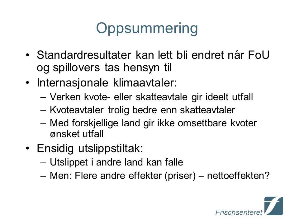 Frischsenteret Oppsummering Standardresultater kan lett bli endret når FoU og spillovers tas hensyn til Internasjonale klimaavtaler: –Verken kvote- el