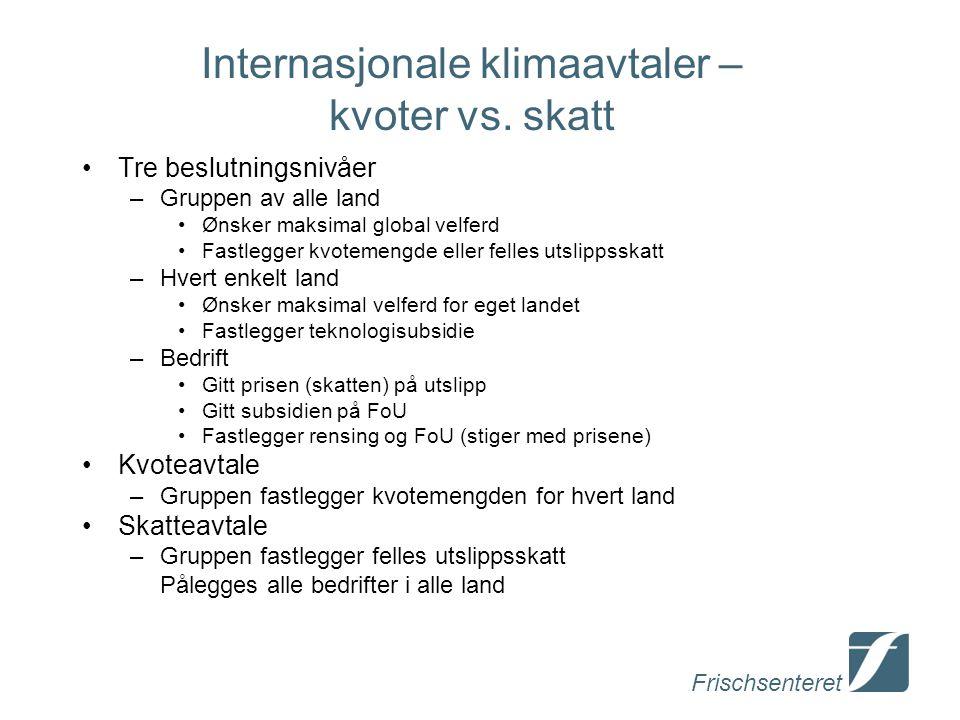 Frischsenteret Internasjonale klimaavtaler – kvoter vs. skatt Tre beslutningsnivåer –Gruppen av alle land Ønsker maksimal global velferd Fastlegger kv