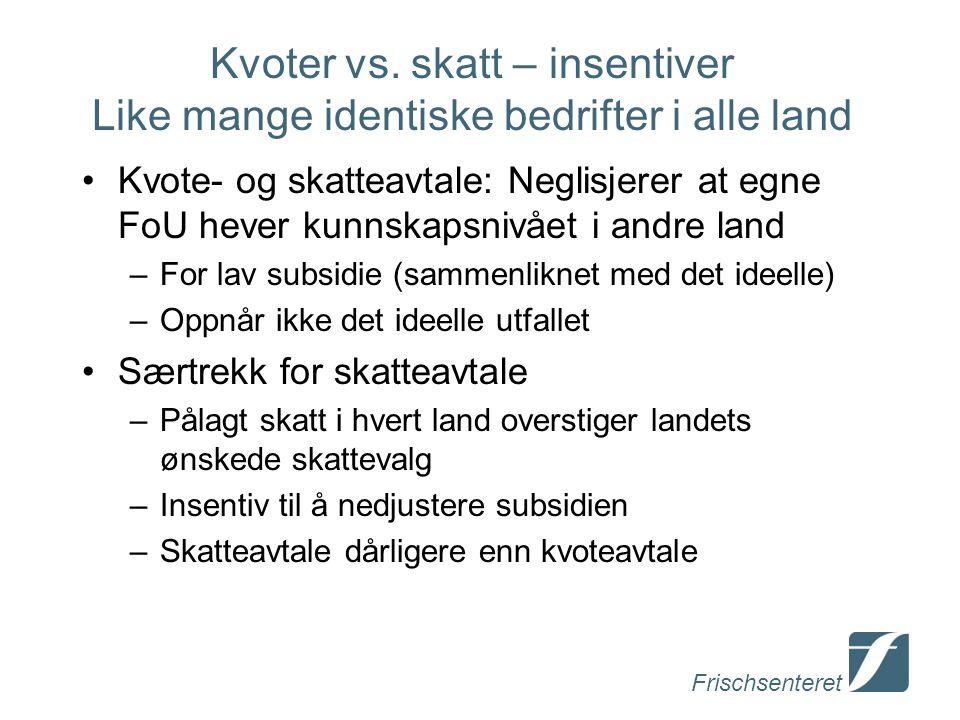 Frischsenteret Kvoter vs. skatt – insentiver Like mange identiske bedrifter i alle land Kvote- og skatteavtale: Neglisjerer at egne FoU hever kunnskap