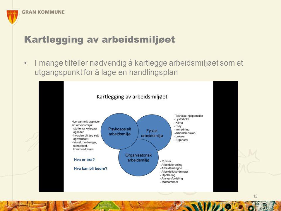 Kartlegging av arbeidsmiljøet I mange tilfeller nødvendig å kartlegge arbeidsmiljøet som et utgangspunkt for å lage en handlingsplan 12