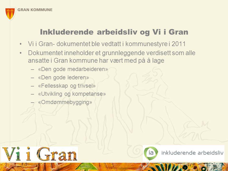 5 Inkluderende arbeidsliv og Vi i Gran Vi i Gran- dokumentet ble vedtatt i kommunestyre i 2011 Dokumentet inneholder et grunnleggende verdisett som al