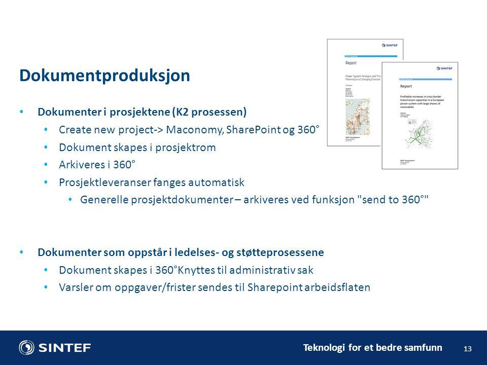 Teknologi for et bedre samfunn Dokumenter i prosjektene (K2 prosessen) Create new project-> Maconomy, SharePoint og 360° Dokument skapes i prosjektrom