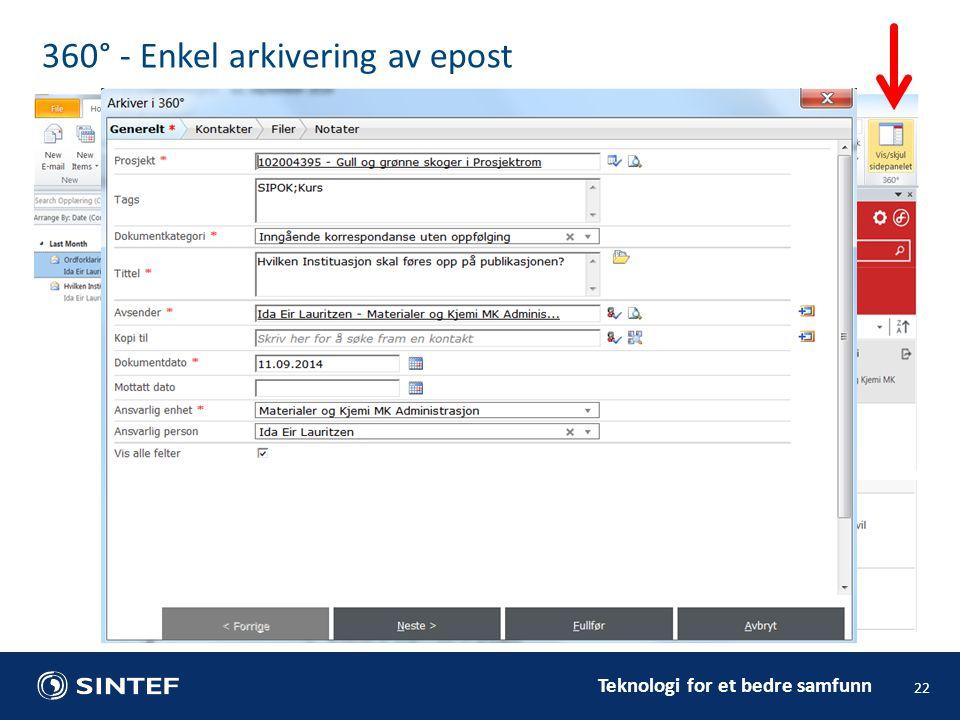 Teknologi for et bedre samfunn 22 360° - Enkel arkivering av epost