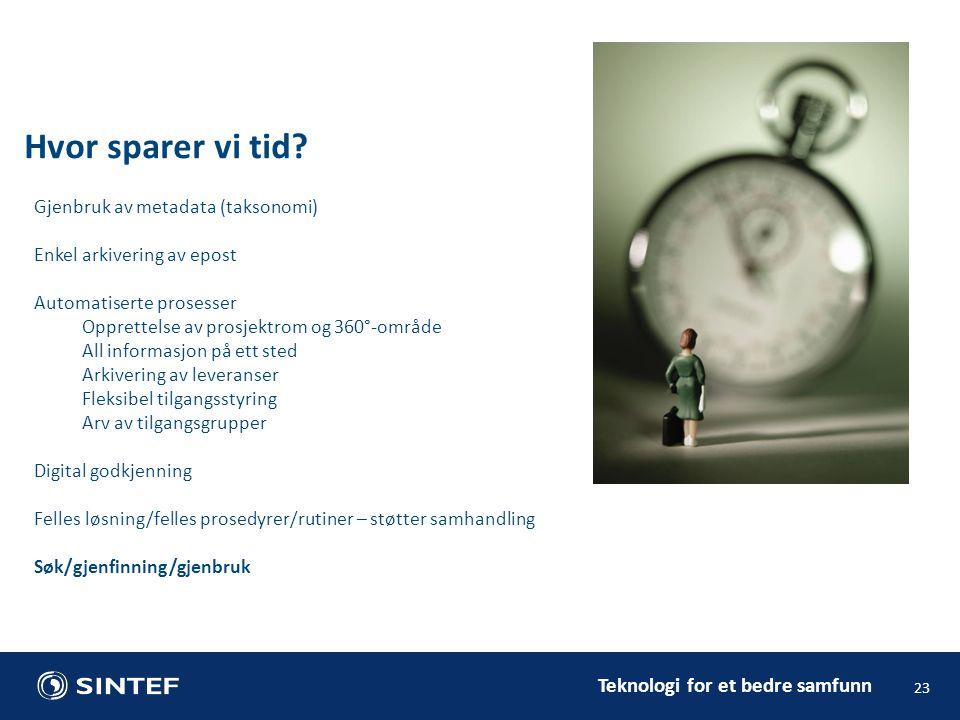 Teknologi for et bedre samfunn Hvor sparer vi tid? 23 Gjenbruk av metadata (taksonomi) Enkel arkivering av epost Automatiserte prosesser Opprettelse a