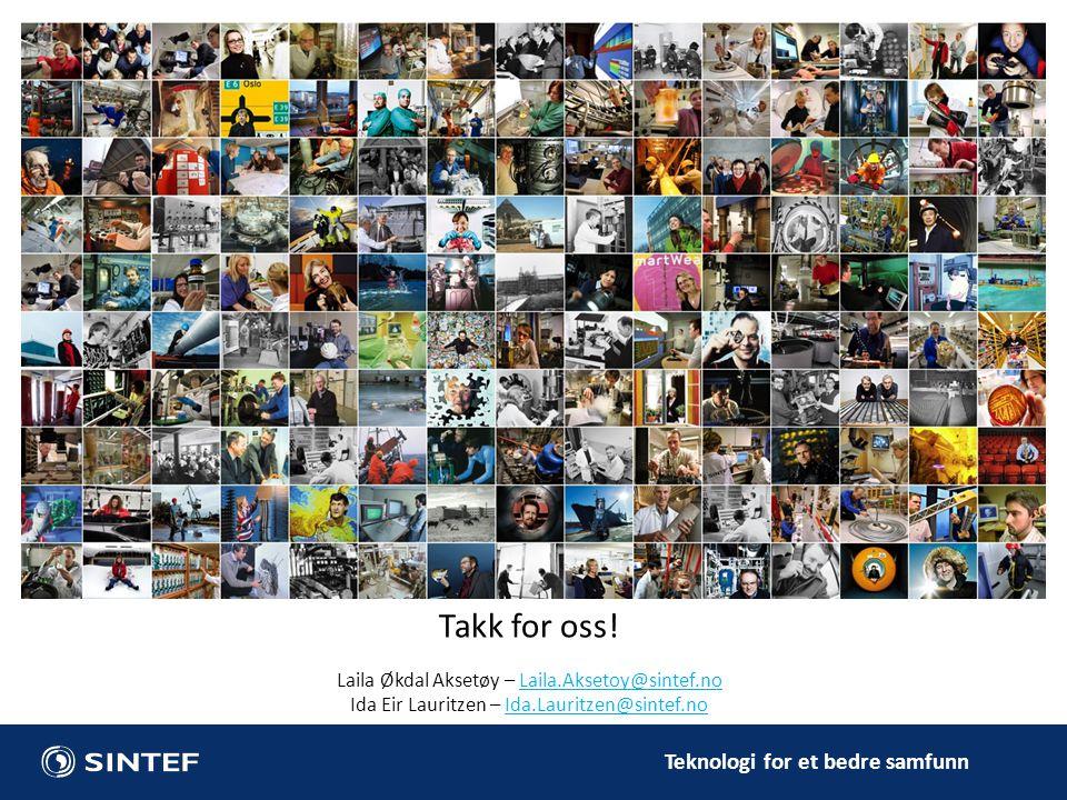 Teknologi for et bedre samfunn Takk for oss! Laila Økdal Aksetøy – Laila.Aksetoy@sintef.noLaila.Aksetoy@sintef.no Ida Eir Lauritzen – Ida.Lauritzen@si