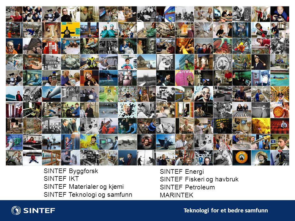 Teknologi for et bedre samfunn SINTEF Byggforsk SINTEF IKT SINTEF Materialer og kjemi SINTEF Teknologi og samfunn SINTEF Energi SINTEF Fiskeri og havb
