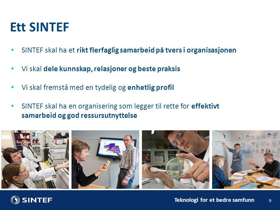 Teknologi for et bedre samfunn SINTEF skal ha et rikt flerfaglig samarbeid på tvers i organisasjonen Vi skal dele kunnskap, relasjoner og beste praksi
