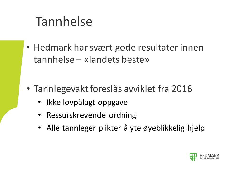 Hedmark har svært gode resultater innen tannhelse – «landets beste» Tannlegevakt foreslås avviklet fra 2016 Ikke lovpålagt oppgave Ressurskrevende ord