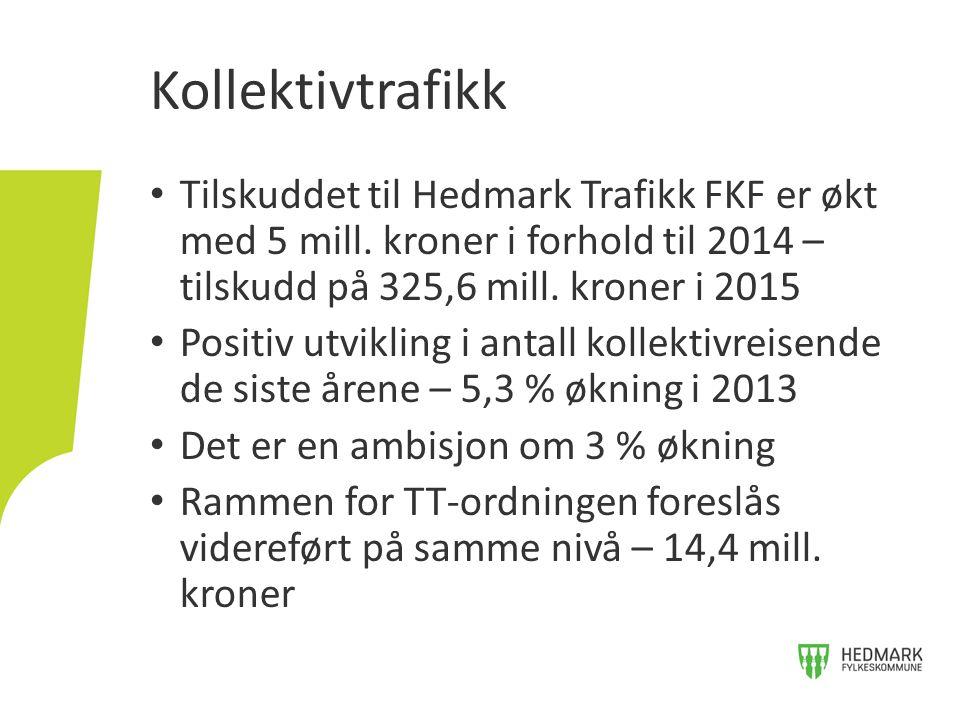Tilskuddet til Hedmark Trafikk FKF er økt med 5 mill. kroner i forhold til 2014 – tilskudd på 325,6 mill. kroner i 2015 Positiv utvikling i antall kol