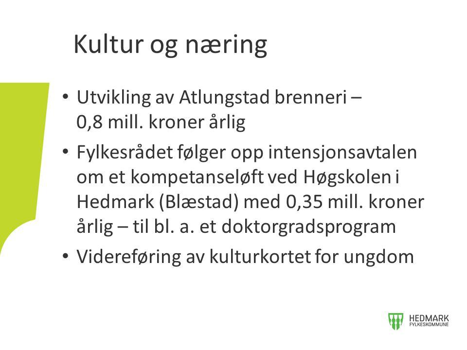 Utvikling av Atlungstad brenneri – 0,8 mill. kroner årlig Fylkesrådet følger opp intensjonsavtalen om et kompetanseløft ved Høgskolen i Hedmark (Blæst