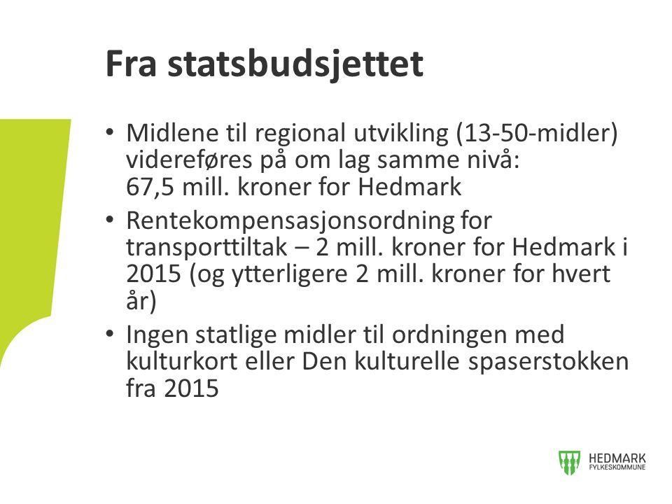 Midlene til regional utvikling (13-50-midler) videreføres på om lag samme nivå: 67,5 mill. kroner for Hedmark Rentekompensasjonsordning for transportt