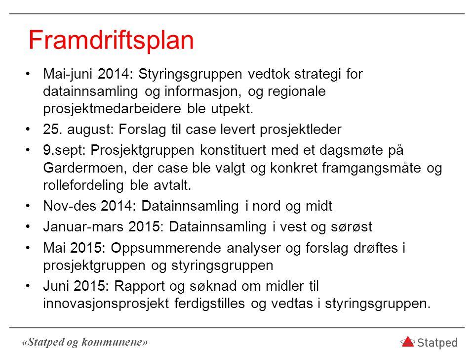 «Statped og kommunene» Framdriftsplan Mai-juni 2014: Styringsgruppen vedtok strategi for datainnsamling og informasjon, og regionale prosjektmedarbeid