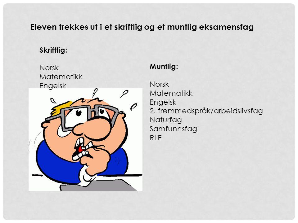 Eleven trekkes ut i et skriftlig og et muntlig eksamensfag Skriftlig: Norsk Matematikk Engelsk Muntlig: Norsk Matematikk Engelsk 2.