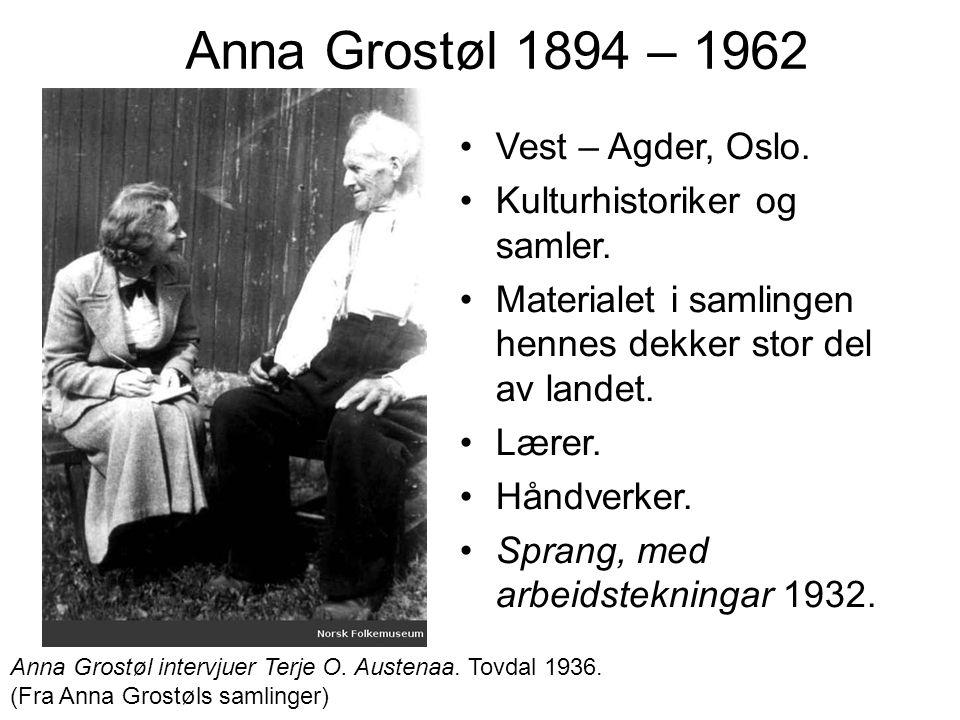 Anna Grostøl 1894 – 1962 Vest – Agder, Oslo. Kulturhistoriker og samler. Materialet i samlingen hennes dekker stor del av landet. Lærer. Håndverker. S