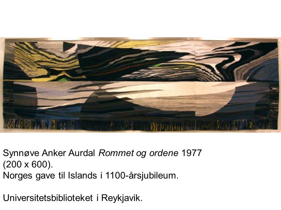 Synnøve Anker Aurdal Rommet og ordene 1977 (200 x 600). Norges gave til Islands i 1100-årsjubileum. Universitetsbiblioteket i Reykjavik.