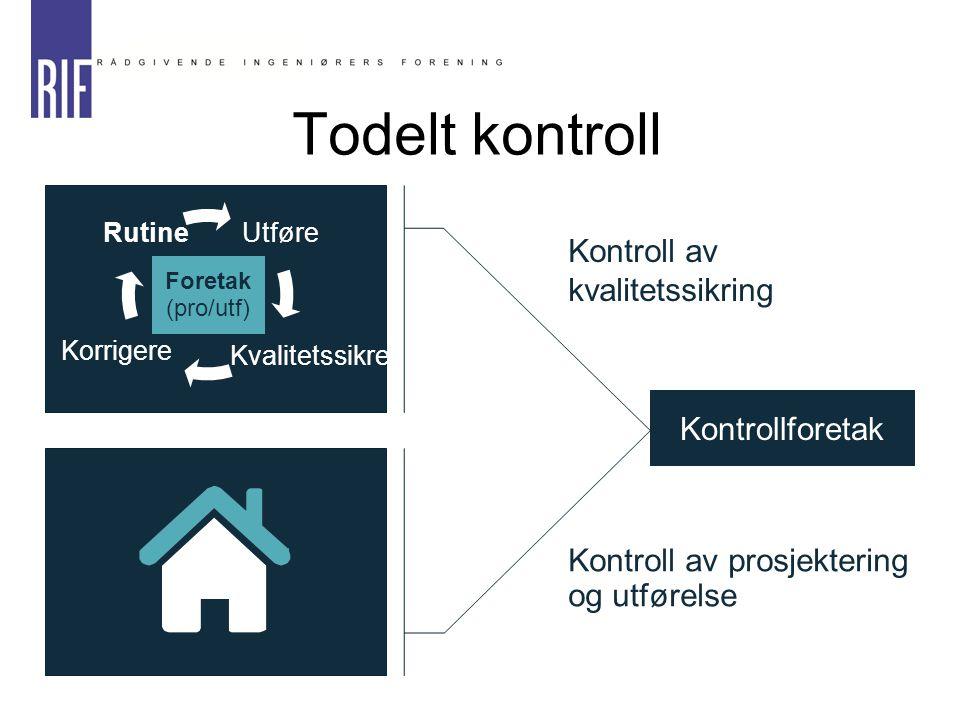 Kontroll av kvalitetssikring Kontroll av prosjektering og utførelse Kontrollforetak Foretak (pro/utf) Utføre Kvalitetssikre Korrigere Rutine Todelt ko