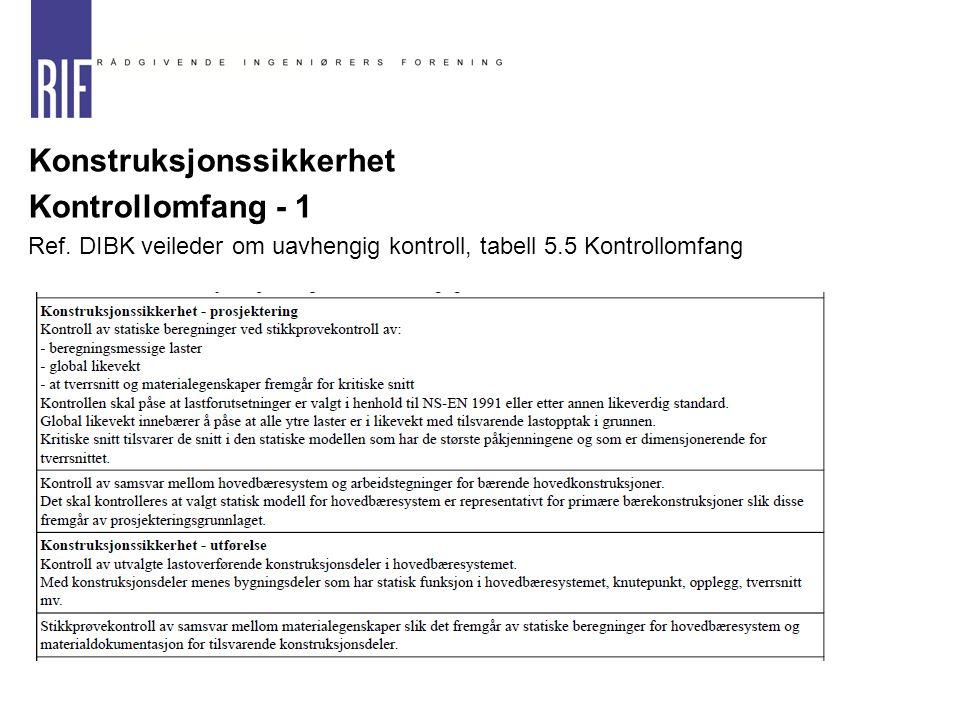  Konstruksjonssikkerhet  Kontrollomfang - 1  Ref. DIBK veileder om uavhengig kontroll, tabell 5.5 Kontrollomfang