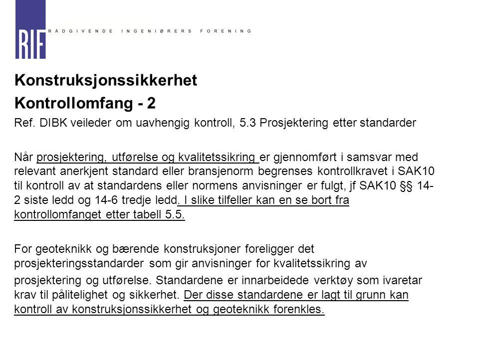  Konstruksjonssikkerhet  Kontrollomfang - 2  Ref. DIBK veileder om uavhengig kontroll, 5.3 Prosjektering etter standarder Når prosjektering, utføre
