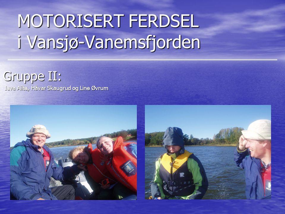 MOTORISERT FERDSEL i Vansjø-Vanemsfjorden Gruppe II: Ieva Ailte, Håvar Skaugrud og Line Øvrum Ieva Ailte, Håvar Skaugrud og Line Øvrum