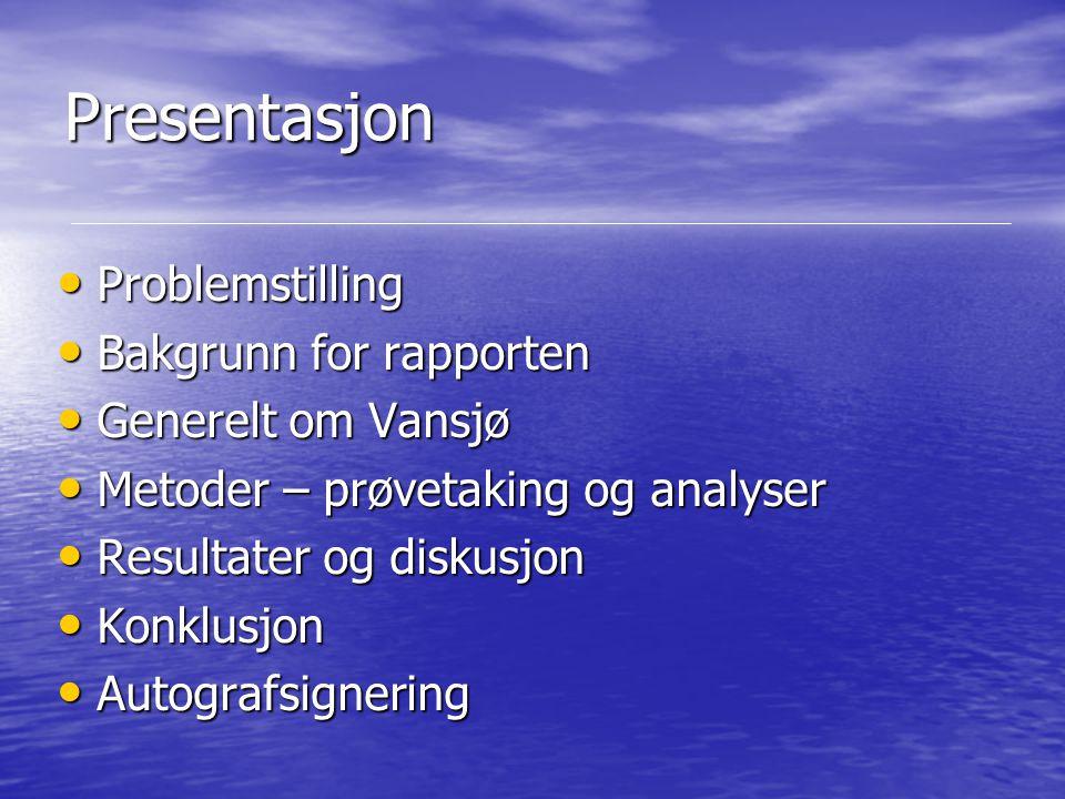 Presentasjon Problemstilling Problemstilling Bakgrunn for rapporten Bakgrunn for rapporten Generelt om Vansjø Generelt om Vansjø Metoder – prøvetaking