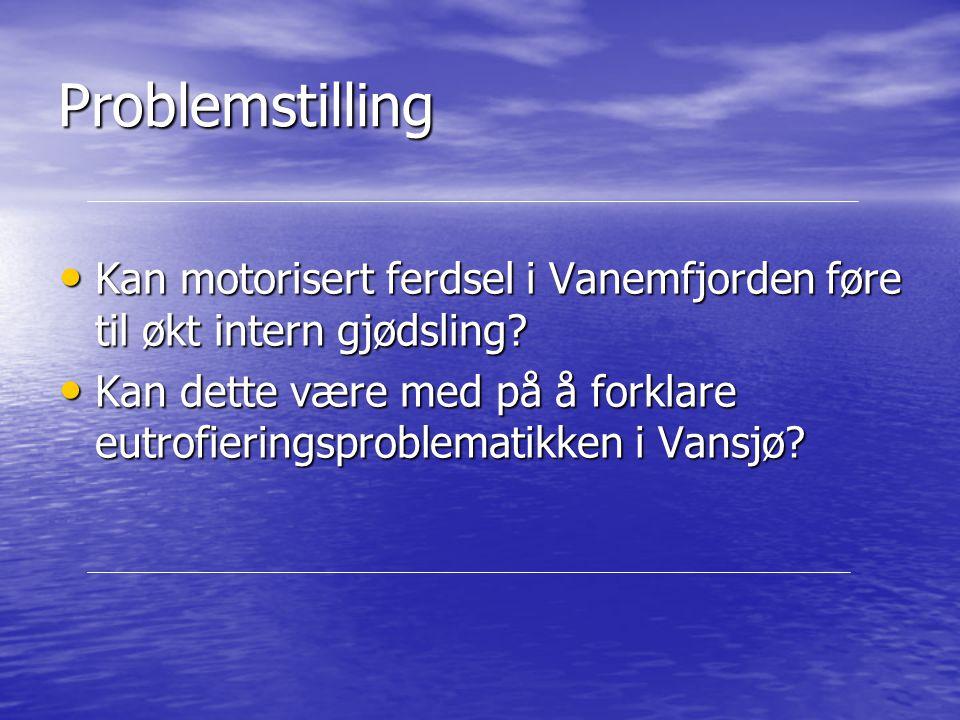 Bakgrunn Vanemfjorden er sterkt eutrofiert gjennom flere tiår Vanemfjorden er sterkt eutrofiert gjennom flere tiår Oppblomstring av potensielt giftige blågrønnalger Oppblomstring av potensielt giftige blågrønnalger Erfaring sier at fergetrafikk er med på å frigjøre miljøgifter fra sedimentene i Oslofjorden og Kristiansand havn Erfaring sier at fergetrafikk er med på å frigjøre miljøgifter fra sedimentene i Oslofjorden og Kristiansand havn Store mengder næringsstoffer bundet opp i sedimentene Store mengder næringsstoffer bundet opp i sedimentene