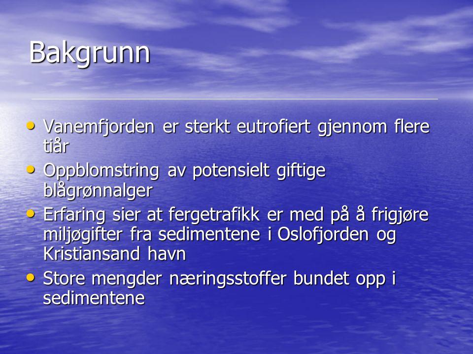 Bakgrunn Vanemfjorden er sterkt eutrofiert gjennom flere tiår Vanemfjorden er sterkt eutrofiert gjennom flere tiår Oppblomstring av potensielt giftige