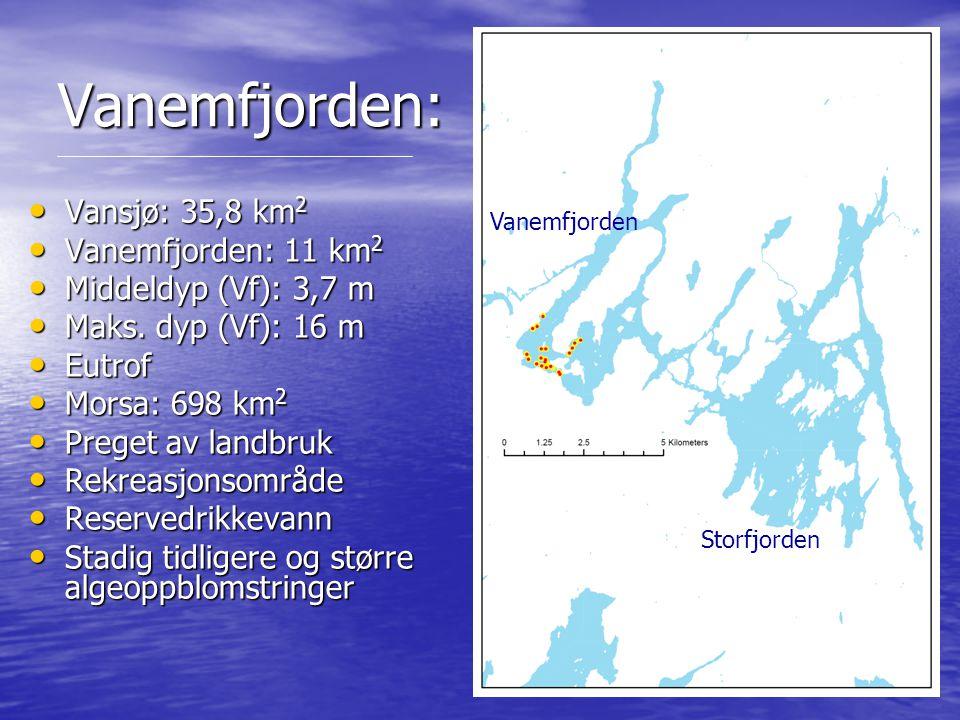 Vanemfjorden: Vansjø: 35,8 km 2 Vansjø: 35,8 km 2 Vanemfjorden: 11 km 2 Vanemfjorden: 11 km 2 Middeldyp (Vf): 3,7 m Middeldyp (Vf): 3,7 m Maks. dyp (V