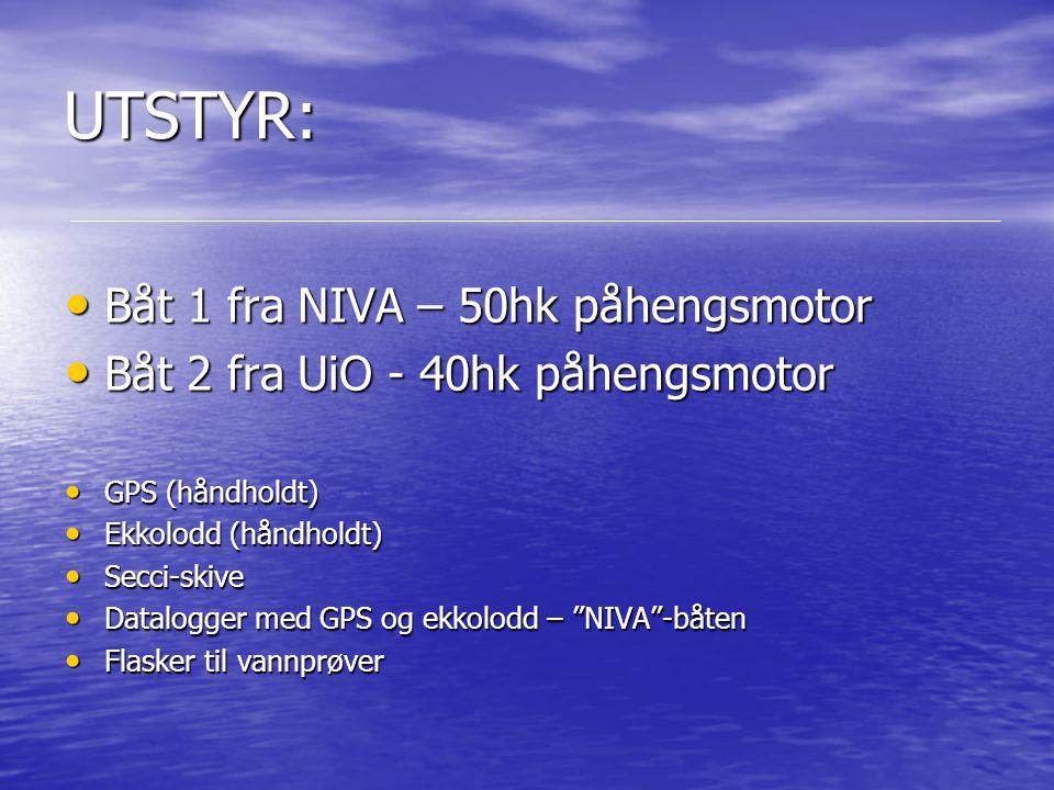 UTSTYR: Båt 1 fra NIVA – 50hk påhengsmotor Båt 1 fra NIVA – 50hk påhengsmotor Båt 2 fra UiO - 40hk påhengsmotor Båt 2 fra UiO - 40hk påhengsmotor GPS
