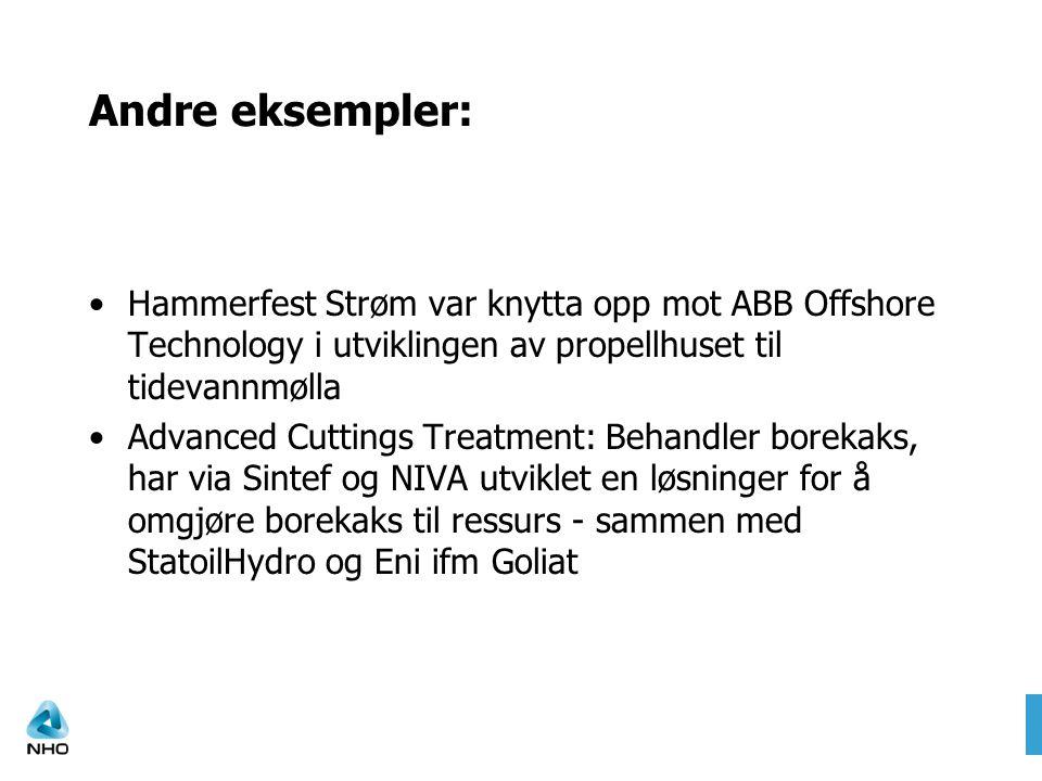 Andre eksempler: Hammerfest Strøm var knytta opp mot ABB Offshore Technology i utviklingen av propellhuset til tidevannmølla Advanced Cuttings Treatment: Behandler borekaks, har via Sintef og NIVA utviklet en løsninger for å omgjøre borekaks til ressurs - sammen med StatoilHydro og Eni ifm Goliat