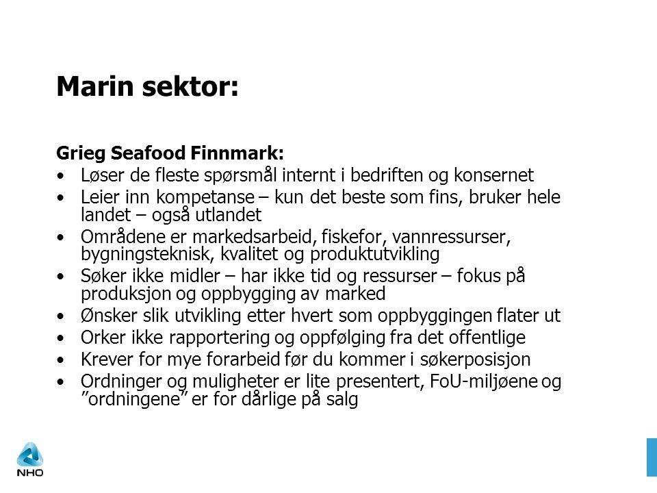 Marin sektor: Grieg Seafood Finnmark: Løser de fleste spørsmål internt i bedriften og konsernet Leier inn kompetanse – kun det beste som fins, bruker hele landet – også utlandet Områdene er markedsarbeid, fiskefor, vannressurser, bygningsteknisk, kvalitet og produktutvikling Søker ikke midler – har ikke tid og ressurser – fokus på produksjon og oppbygging av marked Ønsker slik utvikling etter hvert som oppbyggingen flater ut Orker ikke rapportering og oppfølging fra det offentlige Krever for mye forarbeid før du kommer i søkerposisjon Ordninger og muligheter er lite presentert, FoU-miljøene og ordningene er for dårlige på salg
