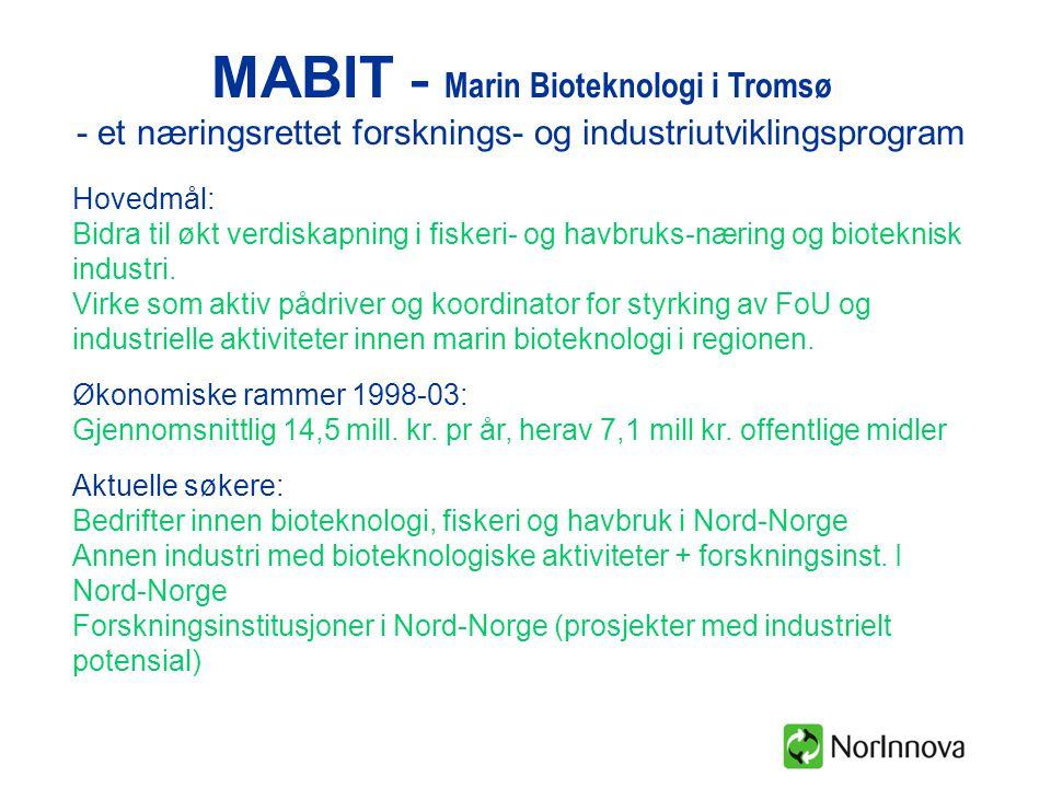 MABIT - Marin Bioteknologi i Tromsø - et næringsrettet forsknings- og industriutviklingsprogram Hovedmål: Bidra til økt verdiskapning i fiskeri- og havbruks-næring og bioteknisk industri.