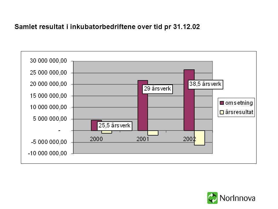 Samlet resultat i inkubatorbedriftene over tid pr 31.12.02