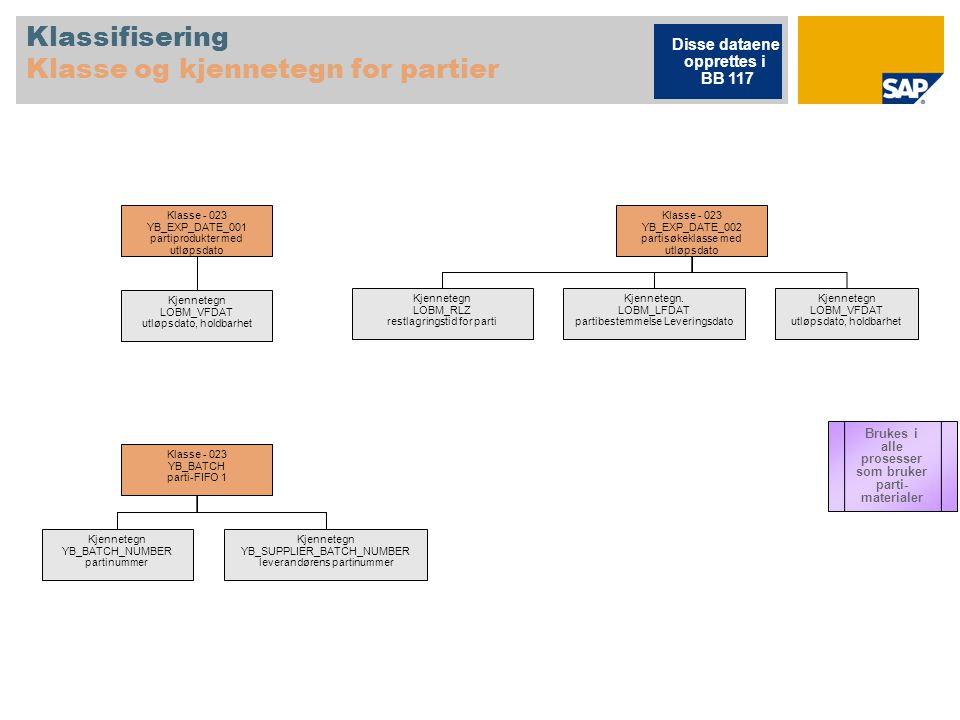 Klassifisering Klasse og kjennetegn for partier Klasse ‑ 023 YB_EXP_DATE_001 partiprodukter med utløpsdato Kjennetegn LOBM_VFDAT utløpsdato, holdbarhe