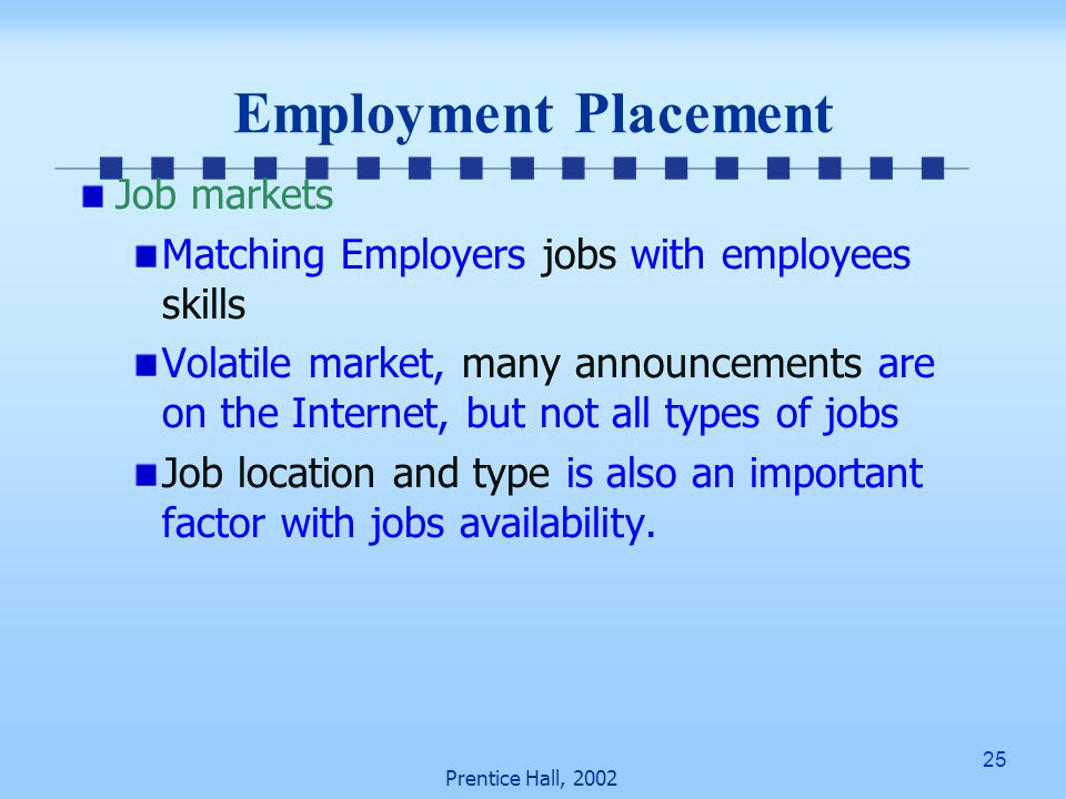 25 Prentice Hall, 2002 Employment Placement Job markets Matching Employers jobs with employees skills Volatile market, many announcements are on the Internet, but not all types of jobs Job location and type is also an important factor with jobs availability.
