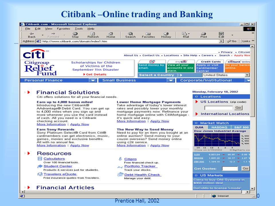 40 Prentice Hall, 2002 Citibank –Online trading and Banking