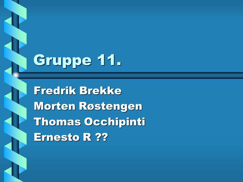 Gruppe 11. Fredrik Brekke Morten Røstengen Thomas Occhipinti Ernesto R