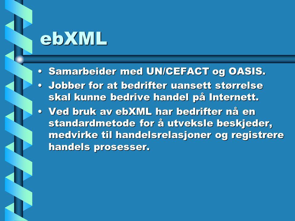 ebXML Samarbeider med UN/CEFACT og OASIS.Samarbeider med UN/CEFACT og OASIS.