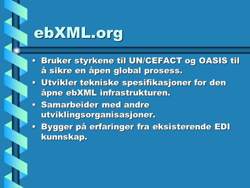 ebXML.org Bruker styrkene til UN/CEFACT og OASIS til å sikre en åpen global prosess.Bruker styrkene til UN/CEFACT og OASIS til å sikre en åpen global prosess.