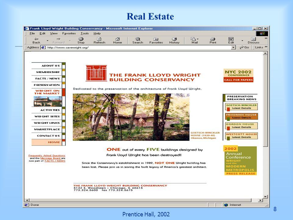9 Prentice Hall, 2002 Real Estate