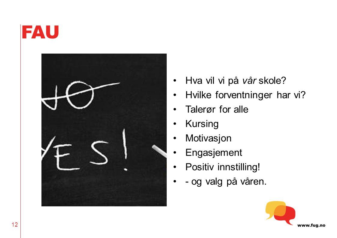 FAU Hva vil vi på vår skole? Hvilke forventninger har vi? Talerør for alle Kursing Motivasjon Engasjement Positiv innstilling! - og valg på våren. 12