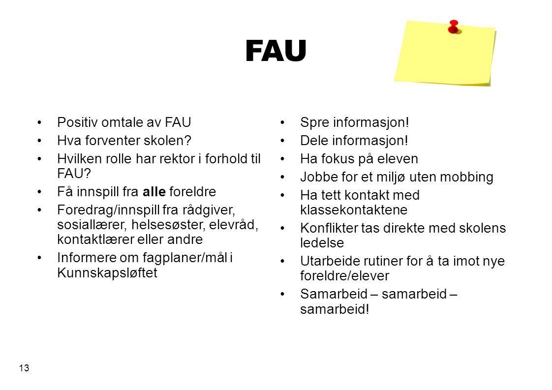 13 FAU Positiv omtale av FAU Hva forventer skolen? Hvilken rolle har rektor i forhold til FAU? Få innspill fra alle foreldre Foredrag/innspill fra råd