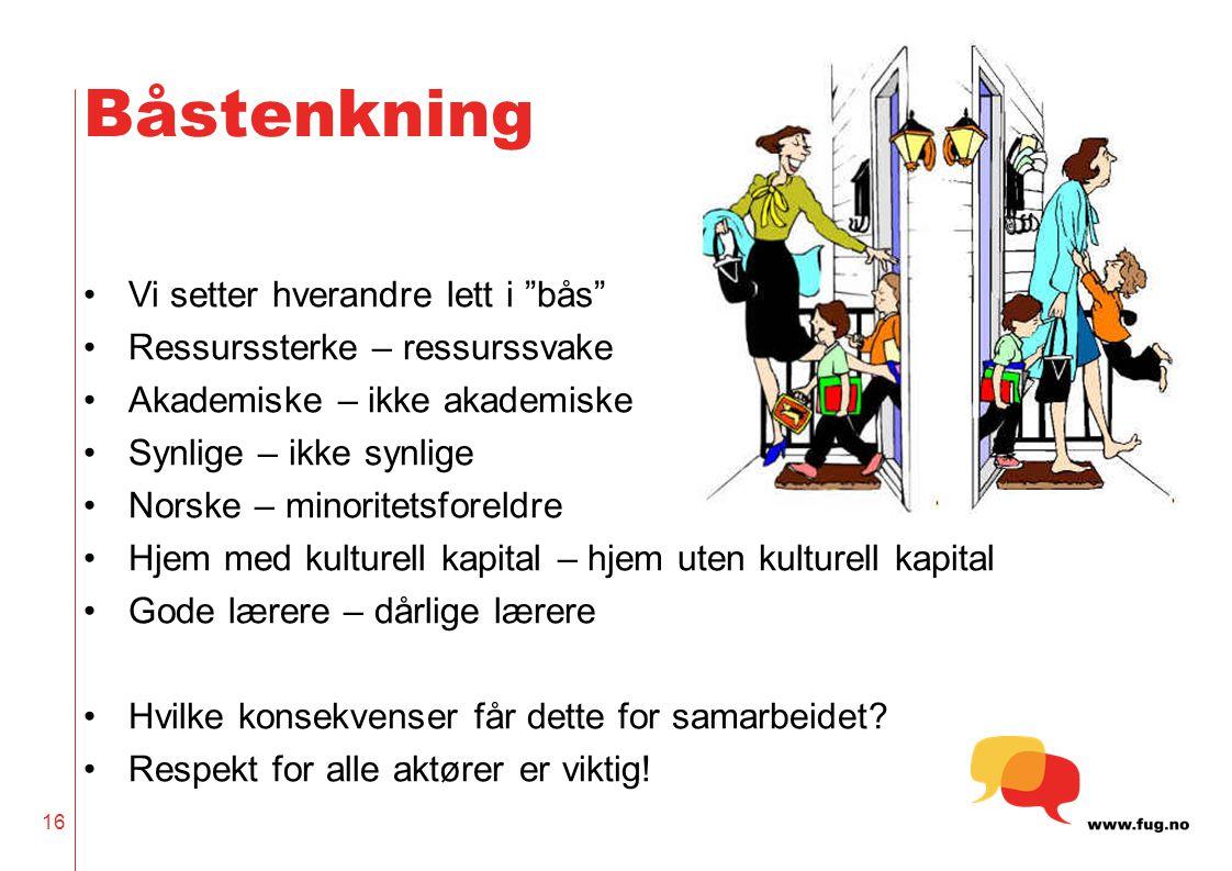 """Båstenkning Vi setter hverandre lett i """"bås"""" Ressurssterke – ressurssvake Akademiske – ikke akademiske Synlige – ikke synlige Norske – minoritetsforel"""