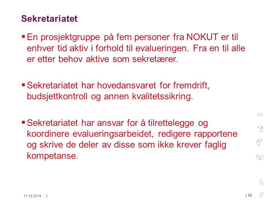 11.12.2014| | 12 Sekretariatet  En prosjektgruppe på fem personer fra NOKUT er til enhver tid aktiv i forhold til evalueringen.