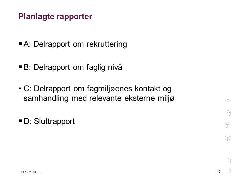 11.12.2014| | 17 Planlagte rapporter  A: Delrapport om rekruttering  B: Delrapport om faglig nivå C: Delrapport om fagmiljøenes kontakt og samhandling med relevante eksterne miljø  D: Sluttrapport