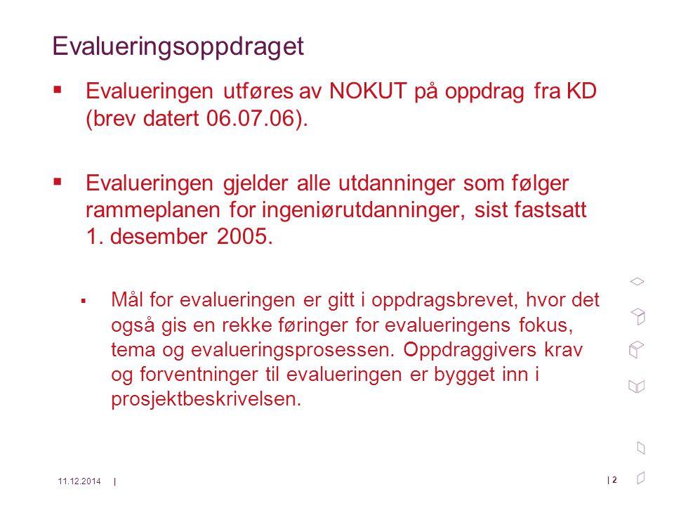 11.12.2014| | 13 Arbeidsdeling Neste lysark: tabell som viser bruk av sakkyndige i faser av evalueringen.
