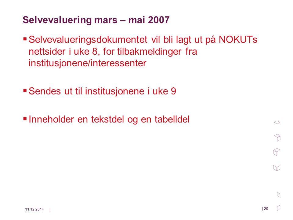 11.12.2014| | 20 Selvevaluering mars – mai 2007  Selvevalueringsdokumentet vil bli lagt ut på NOKUTs nettsider i uke 8, for tilbakmeldinger fra institusjonene/interessenter  Sendes ut til institusjonene i uke 9  Inneholder en tekstdel og en tabelldel