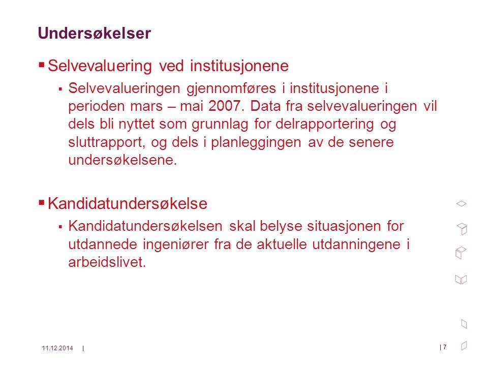11.12.2014| | 7 Undersøkelser  Selvevaluering ved institusjonene  Selvevalueringen gjennomføres i institusjonene i perioden mars – mai 2007.