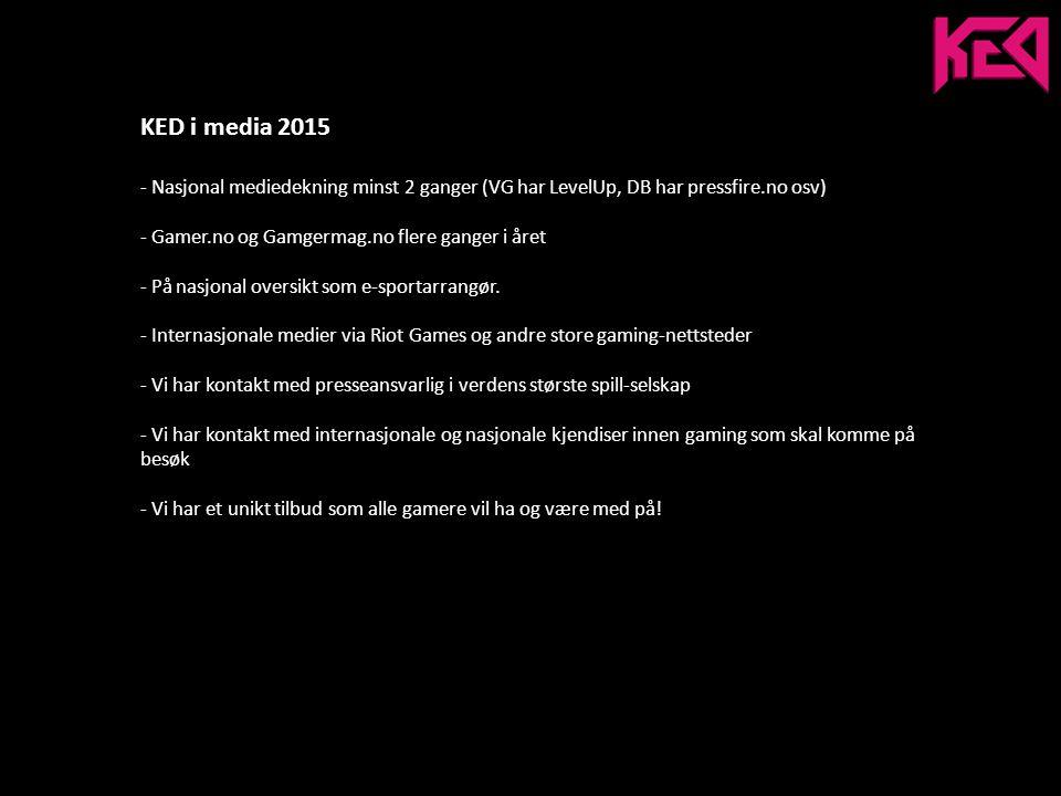 KED i media 2015 - Nasjonal mediedekning minst 2 ganger (VG har LevelUp, DB har pressfire.no osv) - Gamer.no og Gamgermag.no flere ganger i året - På nasjonal oversikt som e-sportarrangør.
